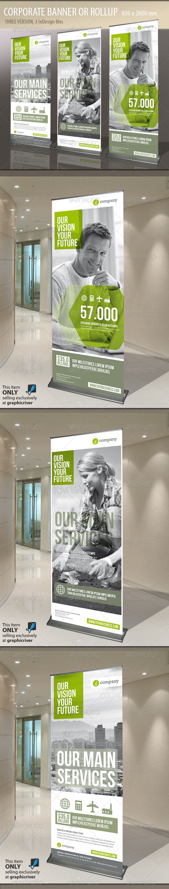 Corporate Banner or Rollup  #GraphicRiver         Modern and clean design for banner/rollup. Perfect for PR agency or other business promotion.