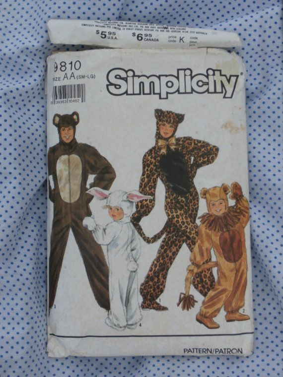 Simplicity Pattern 9810 Size AA SM-LG Halloween Costume Patterns -