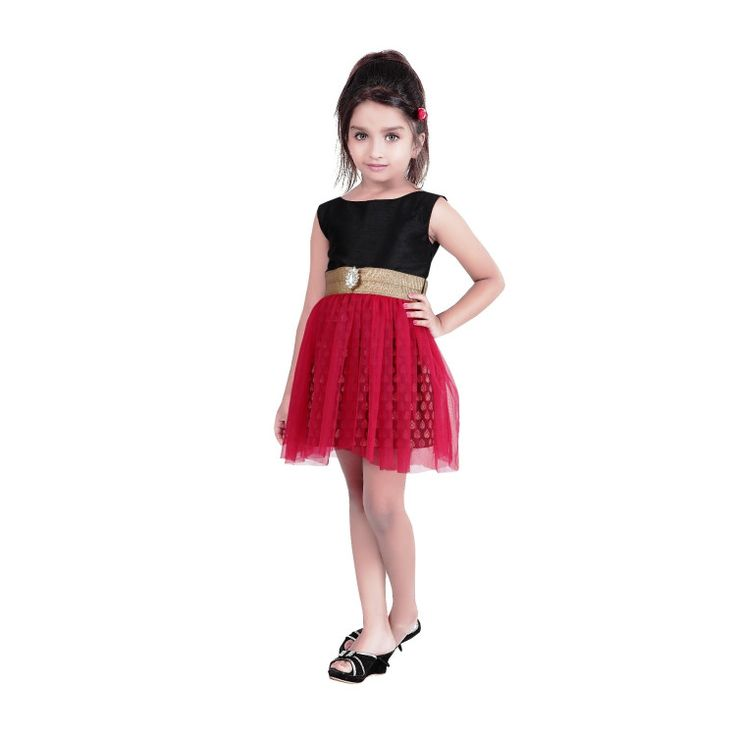 Stylish and Classy! Black and red shade art silk and net kids Indowestern dress..