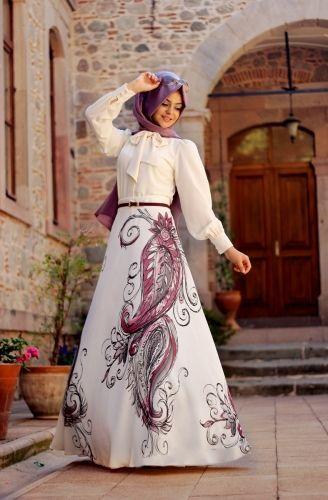 Pınar Şems - Anka Desenli Etek Leylak