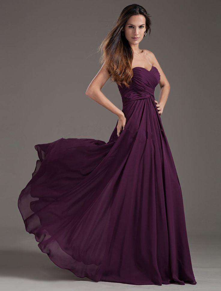2016 purple bridesmaids dresses Elegant A-Line Sweetheart Sleeveless Floor-Length Chiffon With Lace-up Cheap Bridesmaid Dress Under 50$