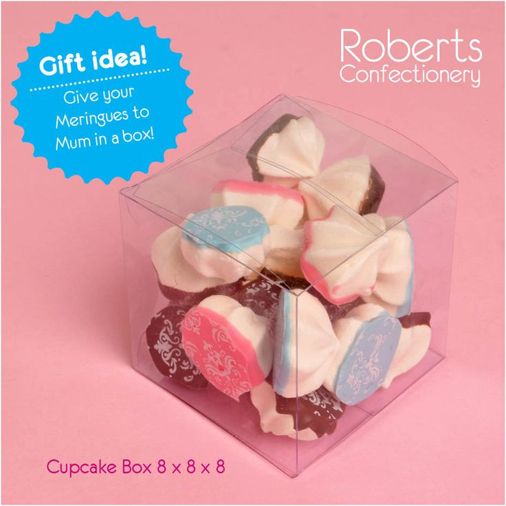 Meringue make at great gift for Mother's Day! Give them to her in a acetate Cupcake Box.