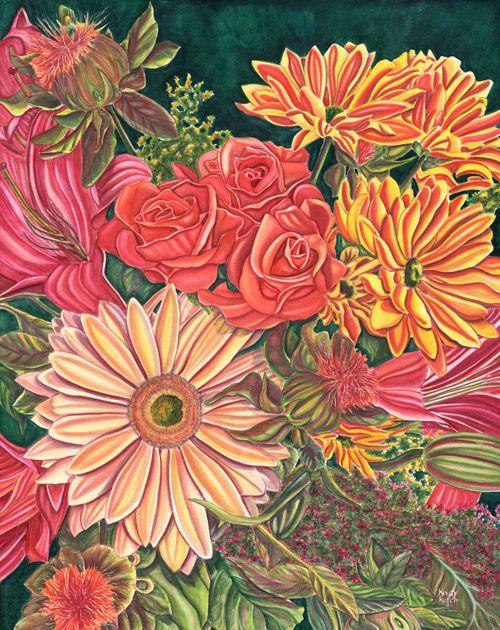"""""""Jan's Birthday Blooms"""" in Derwent Inktense by Kristie Kutch"""