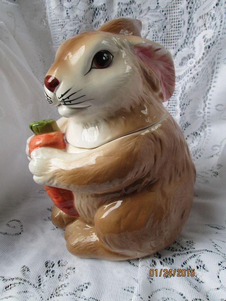 Vintage enesco rabbit holding carrot cookie jar easter ...