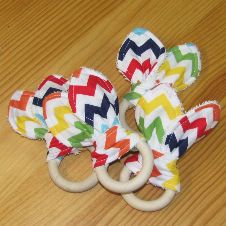 Natural maple wood teether, with soft cotton