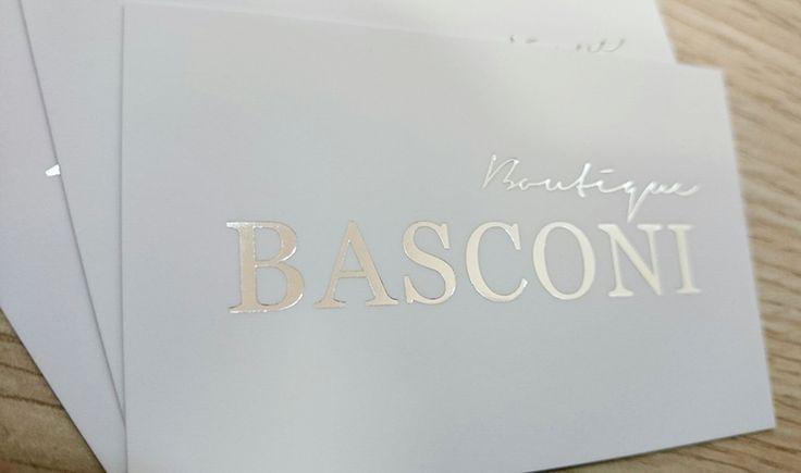 Tarjetas con stamping plata para Boutique Basconi (Puerto Banús)
