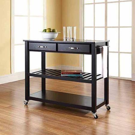 Crosley Furniture Solid Black Granite Top Kitchen Cart with Optional Stool Storage