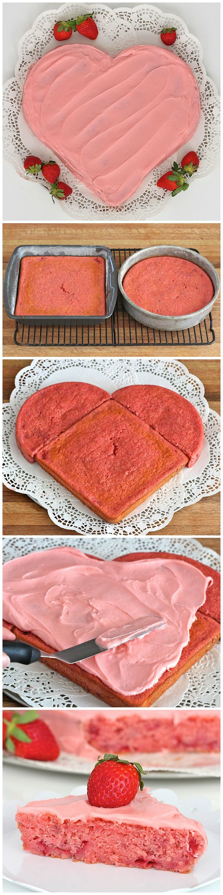 Fresh Strawberry Heart Cake ~ Deliciously fresh strawberry cake shaped like a heart and covered in a creamy dreamy strawberry frosting for a festive Valentine's Day dessert!