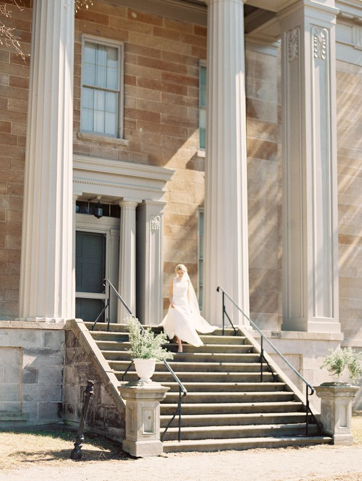 The steps of Ruthven Park's 1840s Greek Revival Mansion make for a dreamy, historic backdrop, ideal for wedding photography. Fee for photography included in all of our wedding packages!