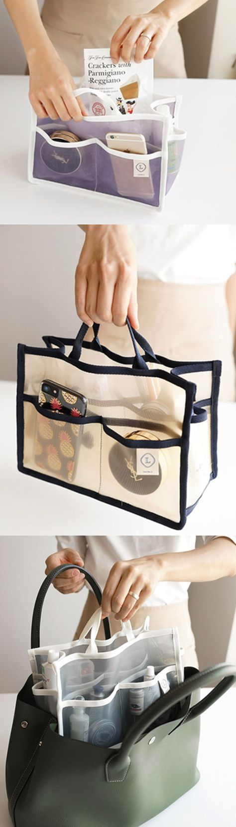 The Medium Mesh Purse Organizer makes it easy and fun to organize your items while keeping your purse clean and tidy! Mesh material also enables you to take them to a pool or a spa!