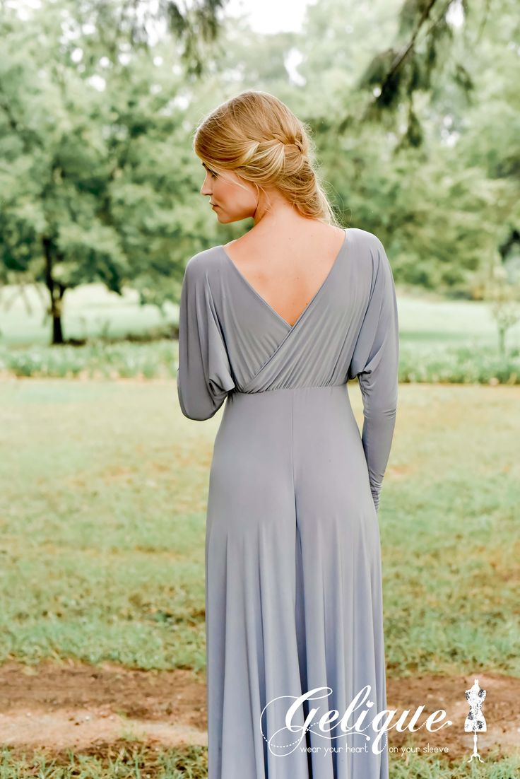 Juliet design Gelique bridesmaids dress. Dusty grey bridesmaids dress. Long sleeves. Plunging neckline and revealing back, the Juliet Dress will definetely make a bold statement..  Available in a variety of sizes and colours from Brides of Somerset. Long, knee-length or short available. Knee length bridesmaids dress.