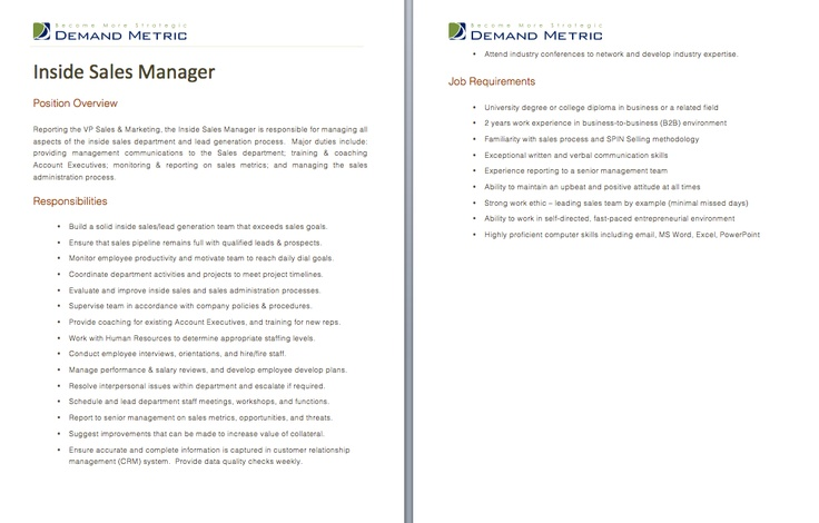 Inside Sales Manager Job Description - A template to quickly - intern job description