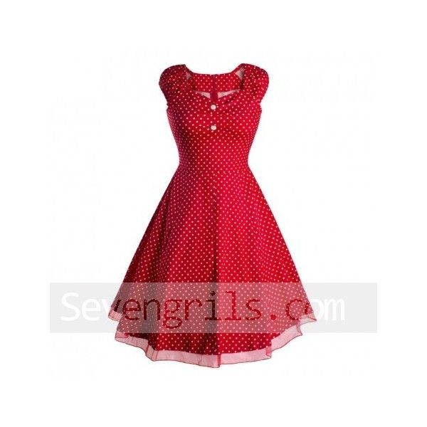 50s Red/ White Polka Dot Swing Dress Vintage Swing Party Dress ($40) ❤ liked on Polyvore featuring dresses, red swing dress, red vintage dress, white cocktail dress, red dress and swing dress