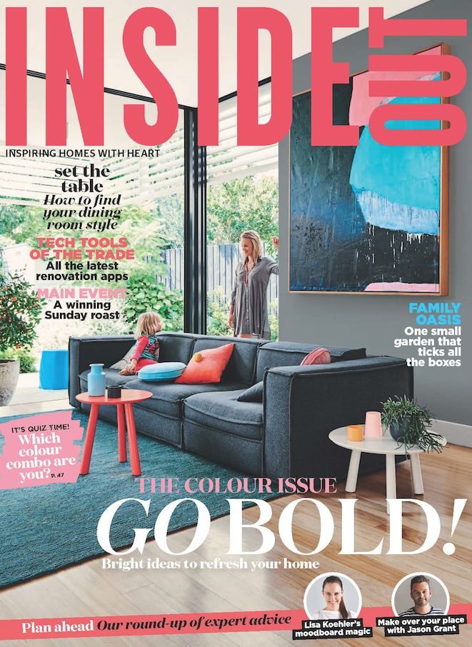 The cover of the April 2016 issue of Inside Out magazine. Styling by Heather Nette King. Photography by Lisa Cohen. Available from newsagents, Zinio,www.zinio.com, Google Play, https://play.google.com/store/newsstand/details/Inside_Out?id=CAowu8qZAQ, Apple's Newsstand, https://itunes.apple.com/au/app/inside-out/id604734331?mt=8&ign-mpt=uo%3D4, and Nook.