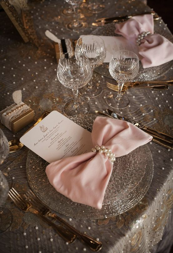 Elegant Wedding Tablescape ♥ Pink Bow Tie Napkins, Lace and Pearl Tablecloth, and Pearl Napkin Rings Wedding Centerpiece