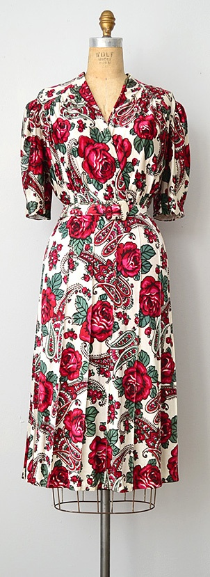 vintage 1940s dress | Language of Roses Dress http://www.adoredvintage.com/index.php?main_page=product_info=2_65_id=473