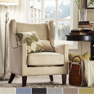 TRIBECCA HOME Henry Wingback Nailhead Upholstered Club Chair with Pillow