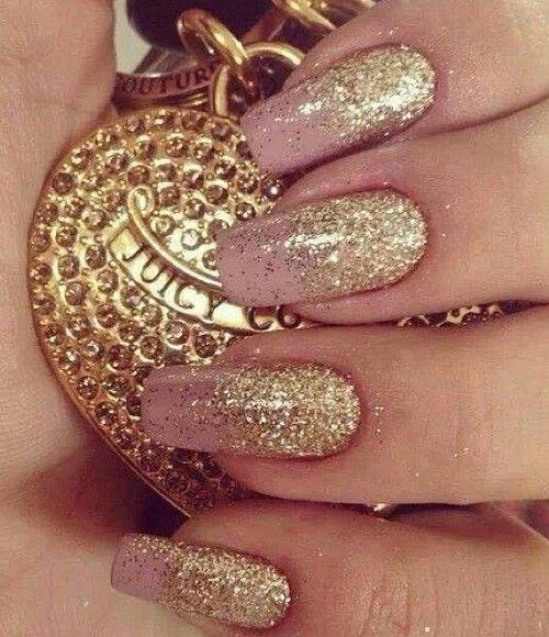 Gold glitter on nails