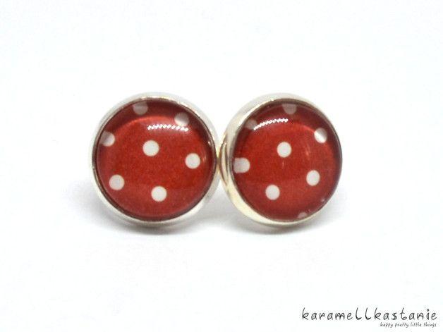 Ohrstecker Ohrschmuck Ohrringe rot Punkte Polka dots weiß silber