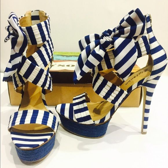 "‼️SALE‼️New gorgeous strappy heels New, no flaws. Heels measures 5"" with 2"" platform so it's comfortable. Gorgeous navy blue and white sandal with back zipper. Zigi Soho Shoes Sandals"