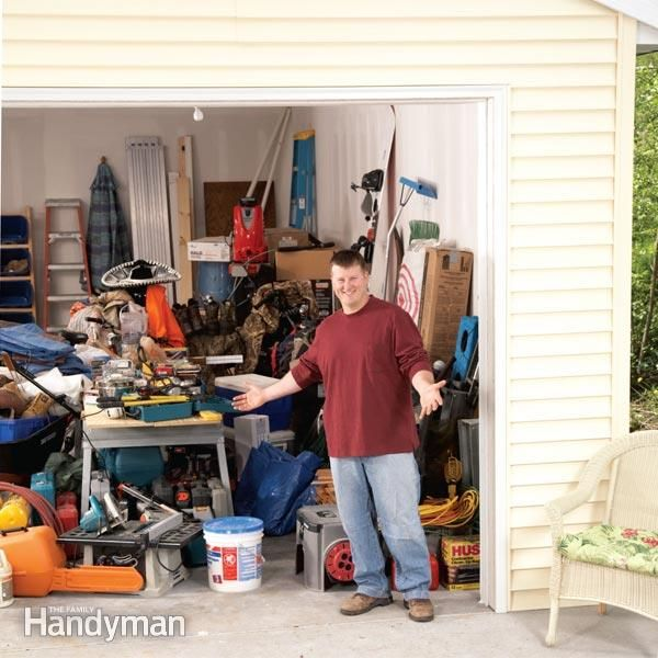 got a lot of stuff in your garage and no way to organize it? this article will show you how to build simple and inexpensive shelving to hold plastic storage containers that will organize your garage in one day.