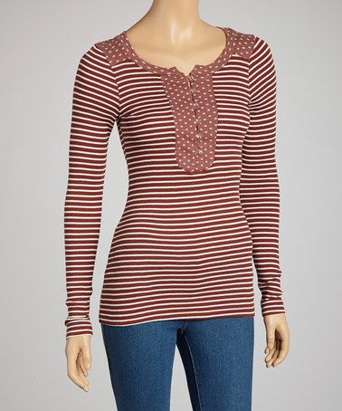 Take a look at this Brick Red Stripe Aurelia Henley by Charlotte Tarantola on #zulily today!