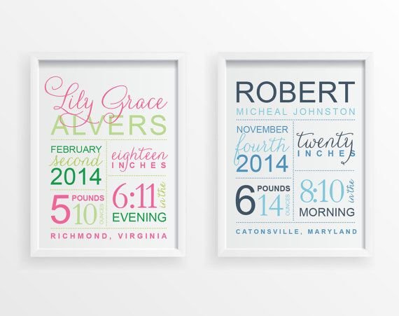 61 best gift ideas images on pinterest fotografie amazing gifts baby birth stats personalized wall art custom announcement poster design nursery christmas holiday new baby shower home decor gift negle Choice Image