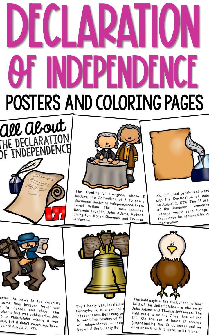 Declaration Of Independence Posters Coloring Book Pages