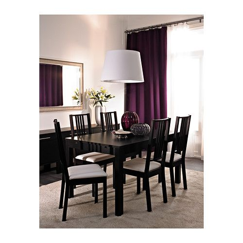 BJURSTA Extendable table IKEA Extendable dining table with 2 extra leaves seats 4-8; makes it possible to adjust the table size according to need.