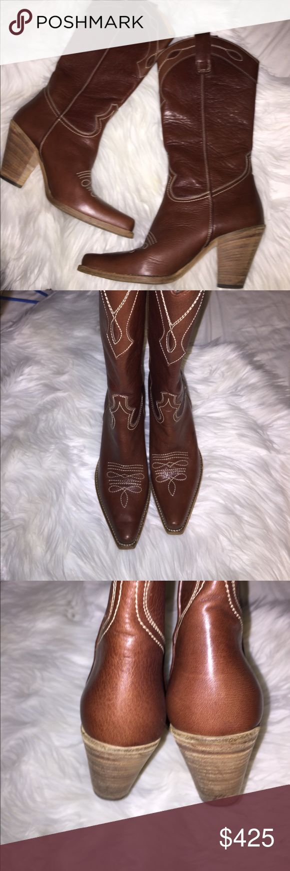 Barney&New York Boots Best pair of boots I've ever had. Debated on if I wanted to list these I have wore these maybe 2 or 3 times. They are a size 39. I'm a size 7 and they fit me good. Could fit a half bigger possibly. Beautiful cowgirl boots Italian leather made and will go with so much but if I sale them for the right price or trade for something I just can't turn down then I'll let them go. They are so comfortable and so stylish. Tv $650 Barneys New York CO-OP Shoes Heeled Boots