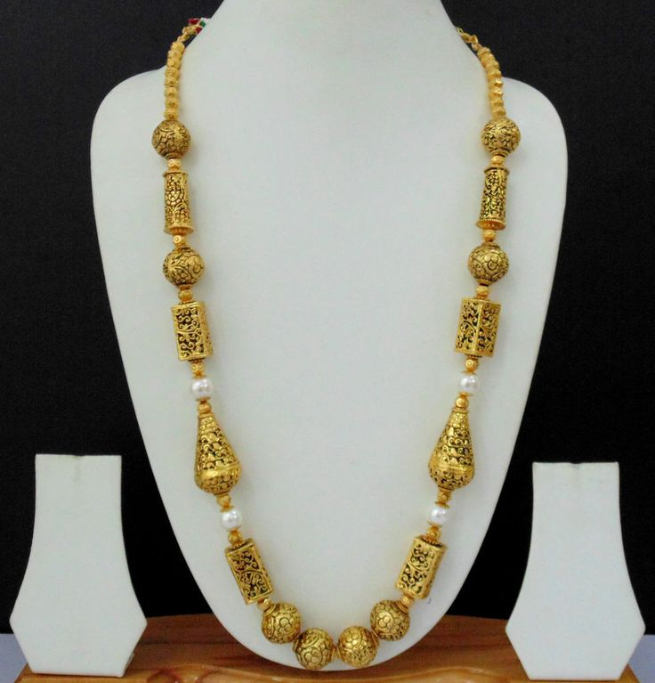 Indian Fashion Jewelry Long Necklace Ethnic 22k Gold Plated Ball Mala Set DS560 in Jewelry & Watches, Ethnic, Regional & Tribal, Asian & East Indian | eBay