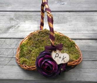 Rustic Flower Girl Basket YOU CHOOSE THE COLOR by BriannaPaigeDesigns