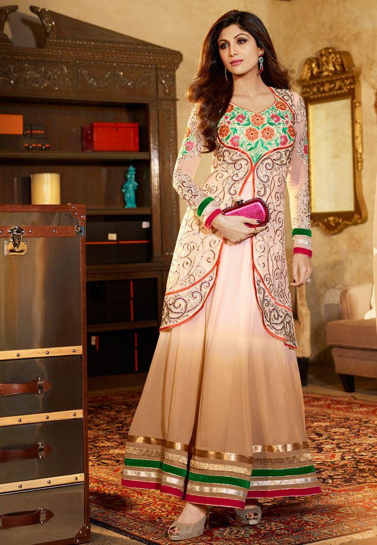 Shaded Beige Faux Georgette Abaya Style Churidar Kameez: KAH90
