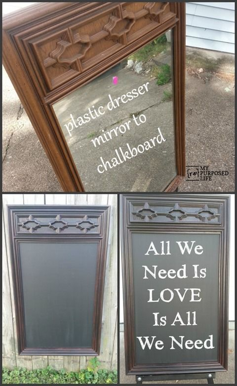 My Repurposed Life-$5 thrift store plastic mirror into a large useful chalkboard
