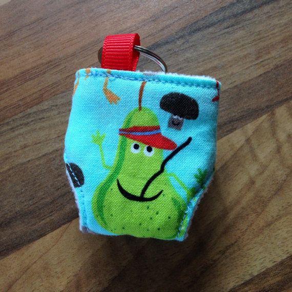 Cloth Nappy Diaper Mini Keyring Keychain Michael Miller Edgy Veggie