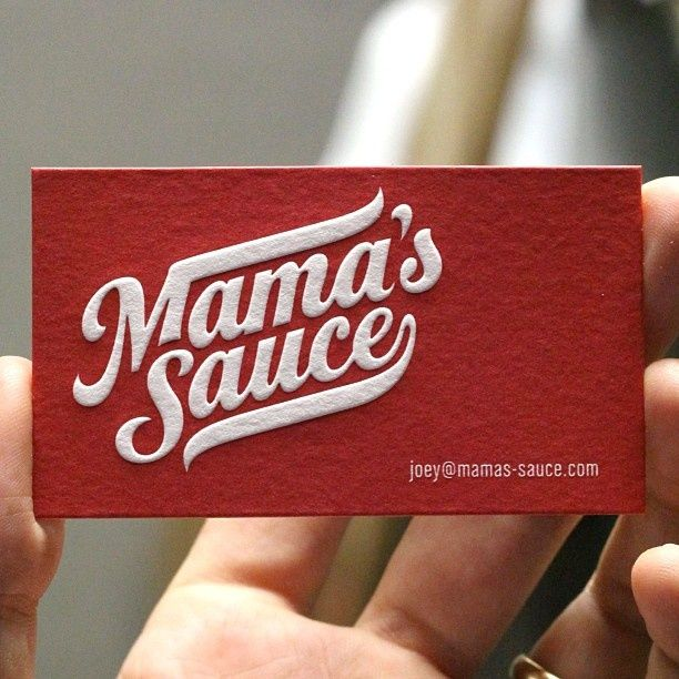 Mama's Sauce business cards - link to how they did it  http://mamas-sauce.com/2011/07/lessons/