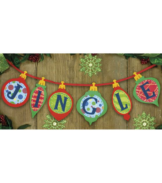 Cristmas ornaments use picture as pattern for shapes Dimensions Felt Applique Kit Jingle Banner