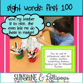 Sight Word Page Activities  We all know how important sight word recognition is!This packet was designed to reinforce sight word recognition. It  contains the first 100 Sight Words. It can be used as a packet or you can run off pages by word to reinforce a particular word with which a student needs to work.