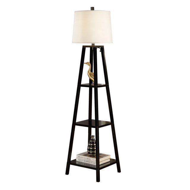 Wood Floor Lamp, Oak Floor Lamp With Shelves Uk