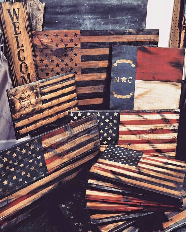 Wood signs flags american flag north carolina spartan for Painted american flag wall art