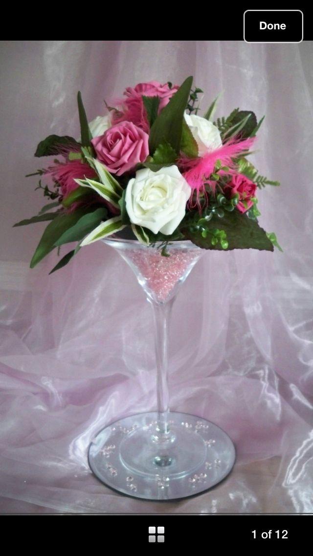 Flowers in a Martini Glass   Martini glass flower arrangement