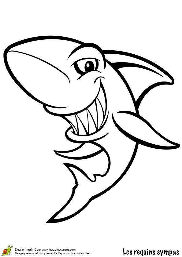 Image à colorier d'un requin féroce   Coloriage requin ...