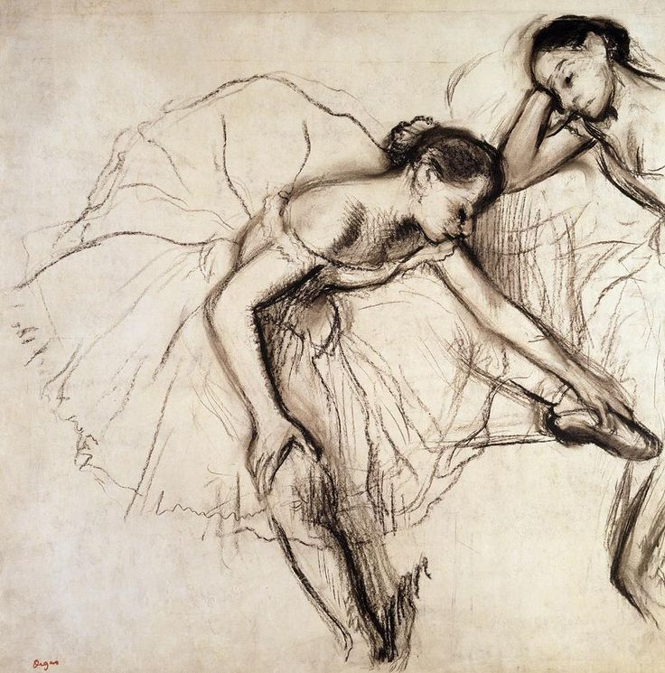 Two Dancers Resting Drawing  - Two Dancers Resting Fine Art Print - Edgar Degas