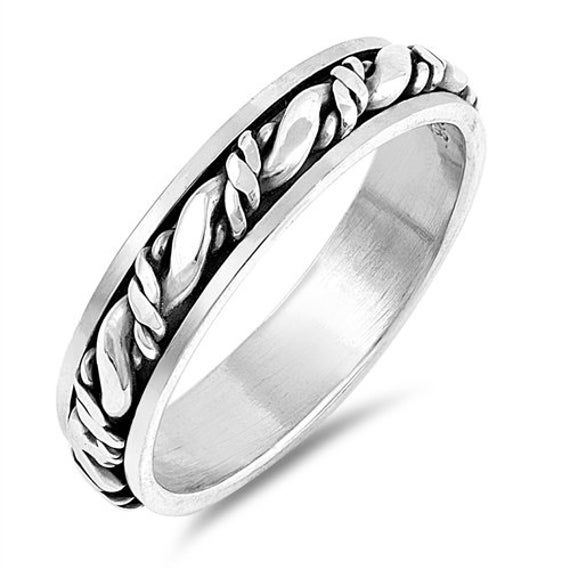 925 Sterling Silver Wedding Band Oxidized Braided Rope Design Spinner Ring(SNRP1…   – Products
