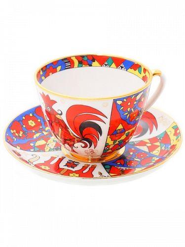 Чашка с блюдцем чайная Весенняя Народные узоры арт. 81.18073.00.1,