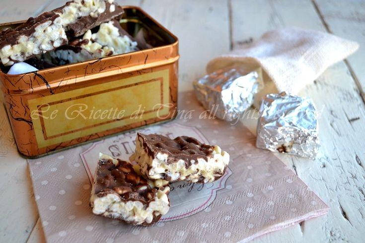 Quadrotti al cioccolato con riso soffiato -,le ricette di tina