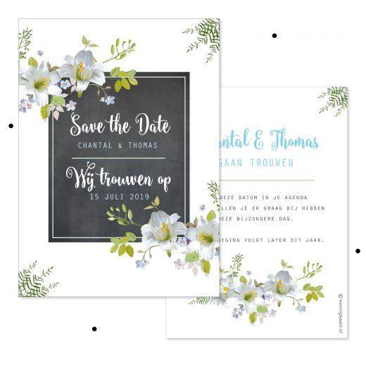 Save the date kaart met krijtbord en bloemen