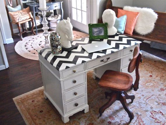 This Is A Solid Wood Desk That Has Been Painted White With Black And Chevron Pattern On Top It Also Mismatched Shabby Hardware