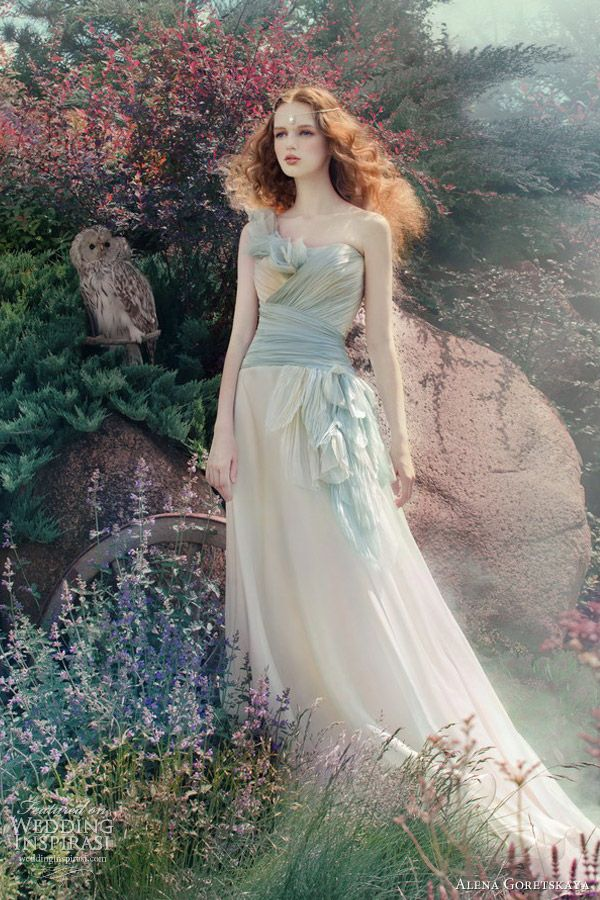 alena goretskaya wedding dresses 2013 vesta gown light blue// I saw this and immediately thought of The Lady of Shalott by Alfred Tennyson.