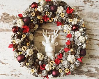 Christmas wreath door hanger xmas 2017 decor rustic hunting deer chritmas decorations red and white natural wreath dried flowers dried plant